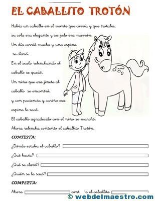 Fichas de comprensión lectora | primero primaria