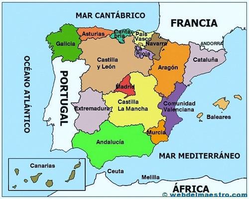 Mapa político de España color