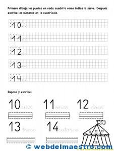 Escritura de números -10 al 14