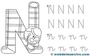 Dibujos para colorear de letras-N