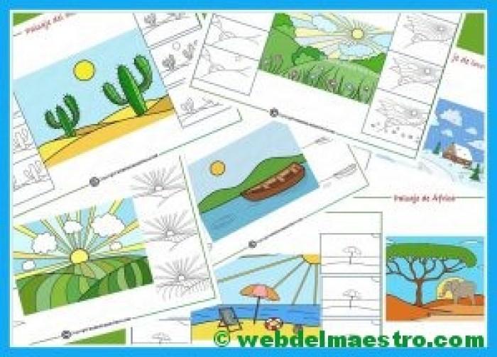 como dibujar un paisaje para niños--