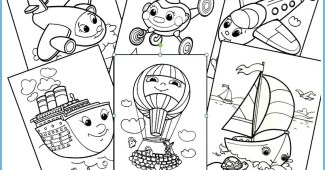 Dibujos infantiles para colorear (medios de transporte)