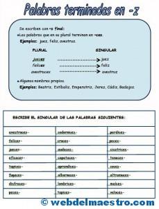 Ortografía-Palabras terminadas en z