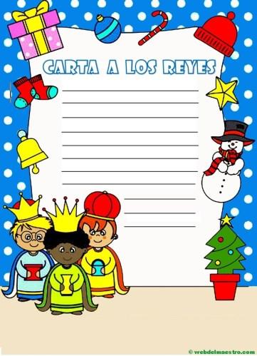 carta para los Reyes magos en color-con pauta simple