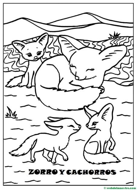 Dibujos para pintar-animales y sus crías-Zorro y sus cachorros