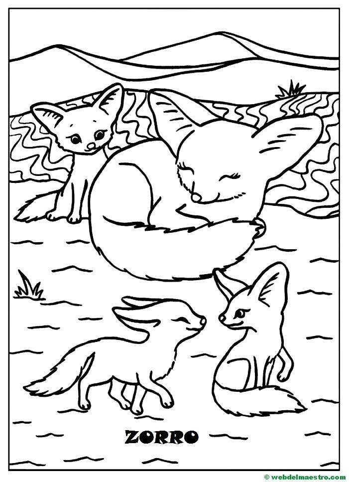 Dibujos para pintar-animales y sus crías-Zorro y sus ...