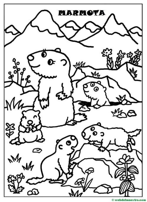Marmota y sus crías