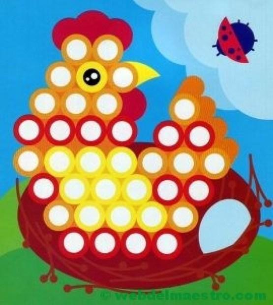 Plantillas para juegos con botones-gallina