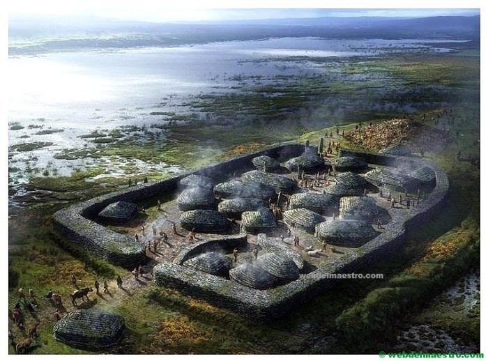 Poblado de la Edad de los Metales con viviendas redondas