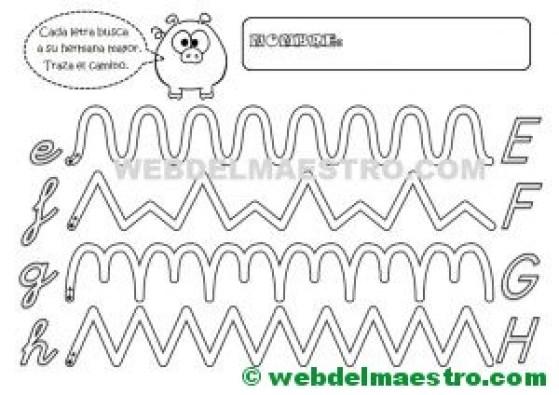 Grafomotricidad-Abecedario infantil-LETRAS E-F-G-