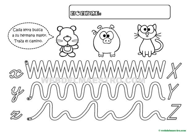 Grafomotricidad-Abecedario infantil-LETRAS X-Y-Z