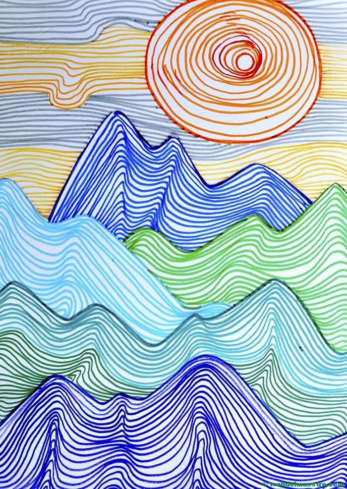 Dibujos con l neas dibujos en 3d para ni os web del for Paisajes para una pared