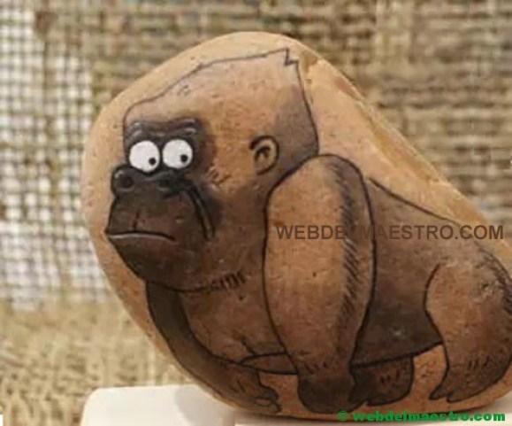 Decorar piedras-gorila-