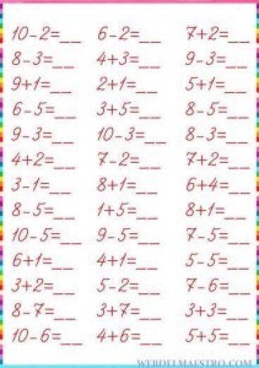 Matemáticas para niños-Sumas y restas hasta el 10