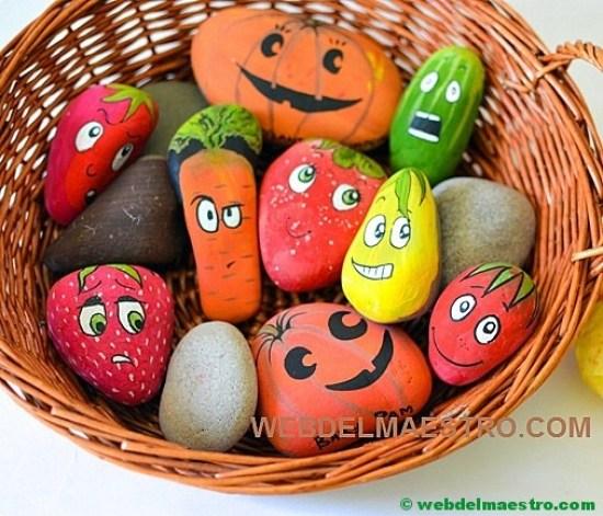 Piedras pintadas-frutas y hortalizas