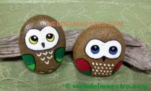 Piedras pintadas para niños-búhos