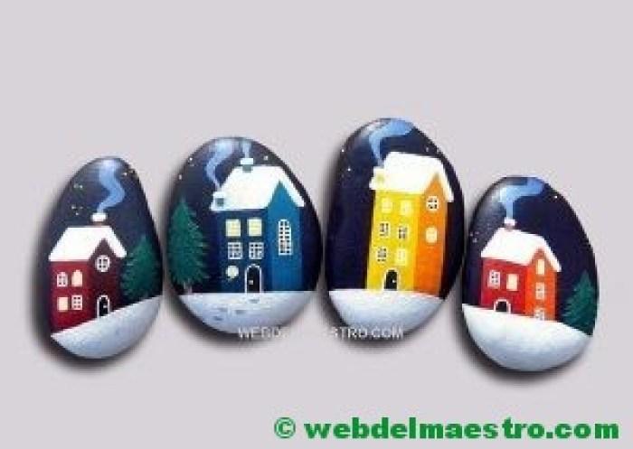 Pintar piedras-casas
