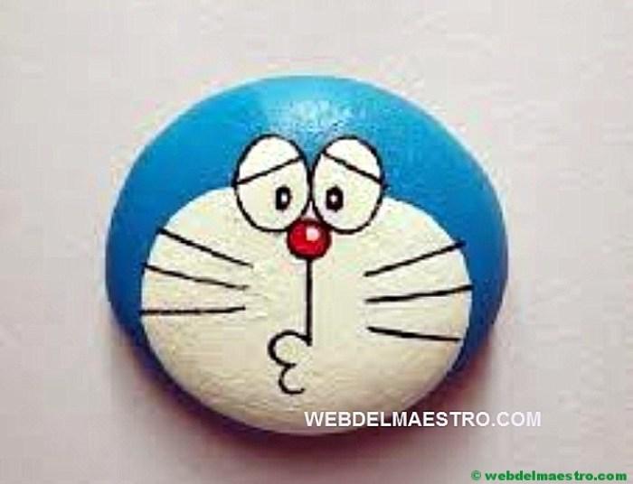 Pintar piedras-gato Doraemon