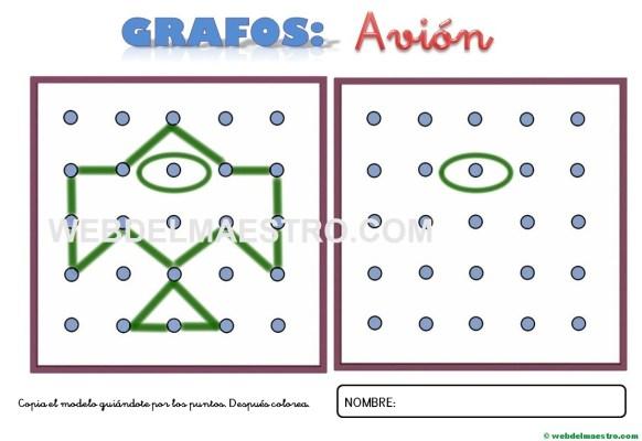 Dibujos para unir puntos-avión