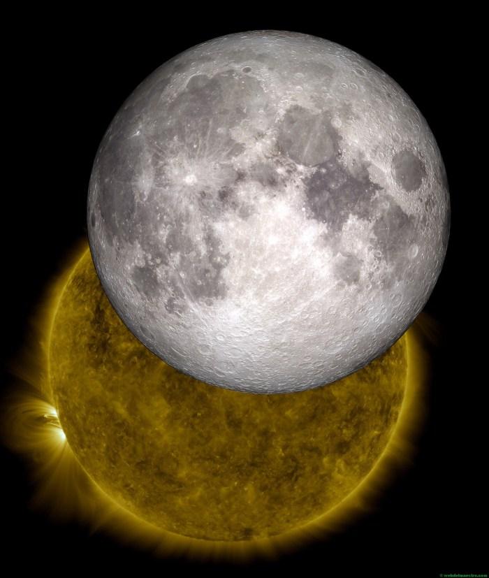La Luna con el Sol de fondo