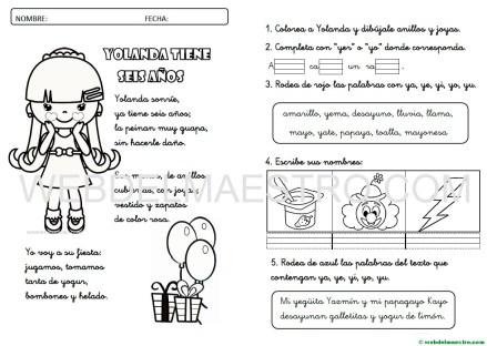 Lecturas infantiles-Letra Y función consonante-actividades-cursiva