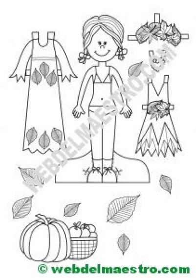 Muñeca recortable con disfraz de otoño