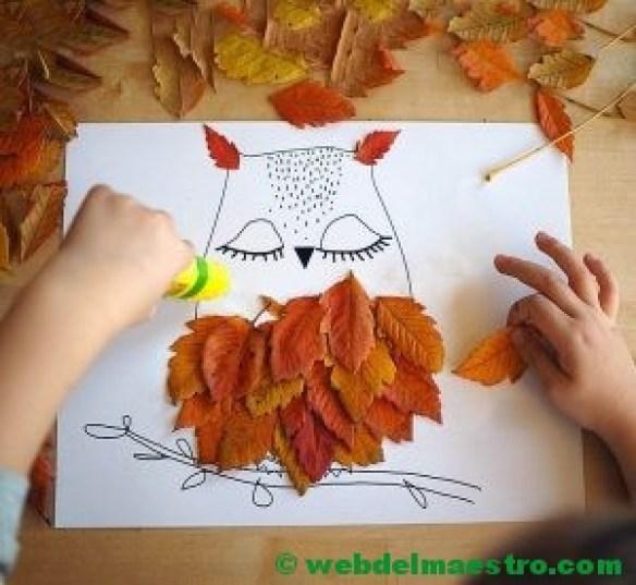 búho con hojas de otoño-
