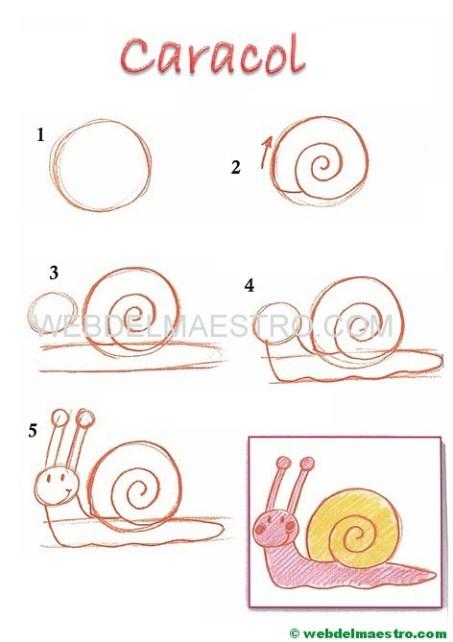 dibujos fáciles paso a paso-caracol