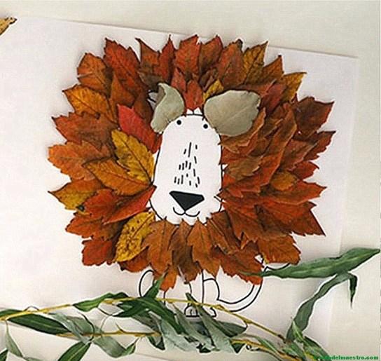 león con hojas de otoño-