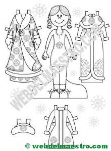 muñeca recortable con vestidos de invierno