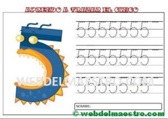 grafomotricidad numero cinco