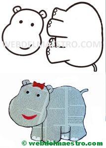 Modelo y plantilla del hipopótamo