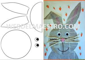 manualidades con papel de periodico-conejito