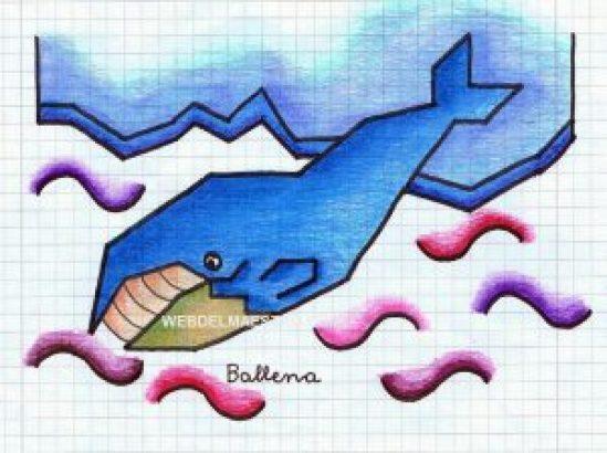 Dibujo de ballena en hoja cuadriculada-