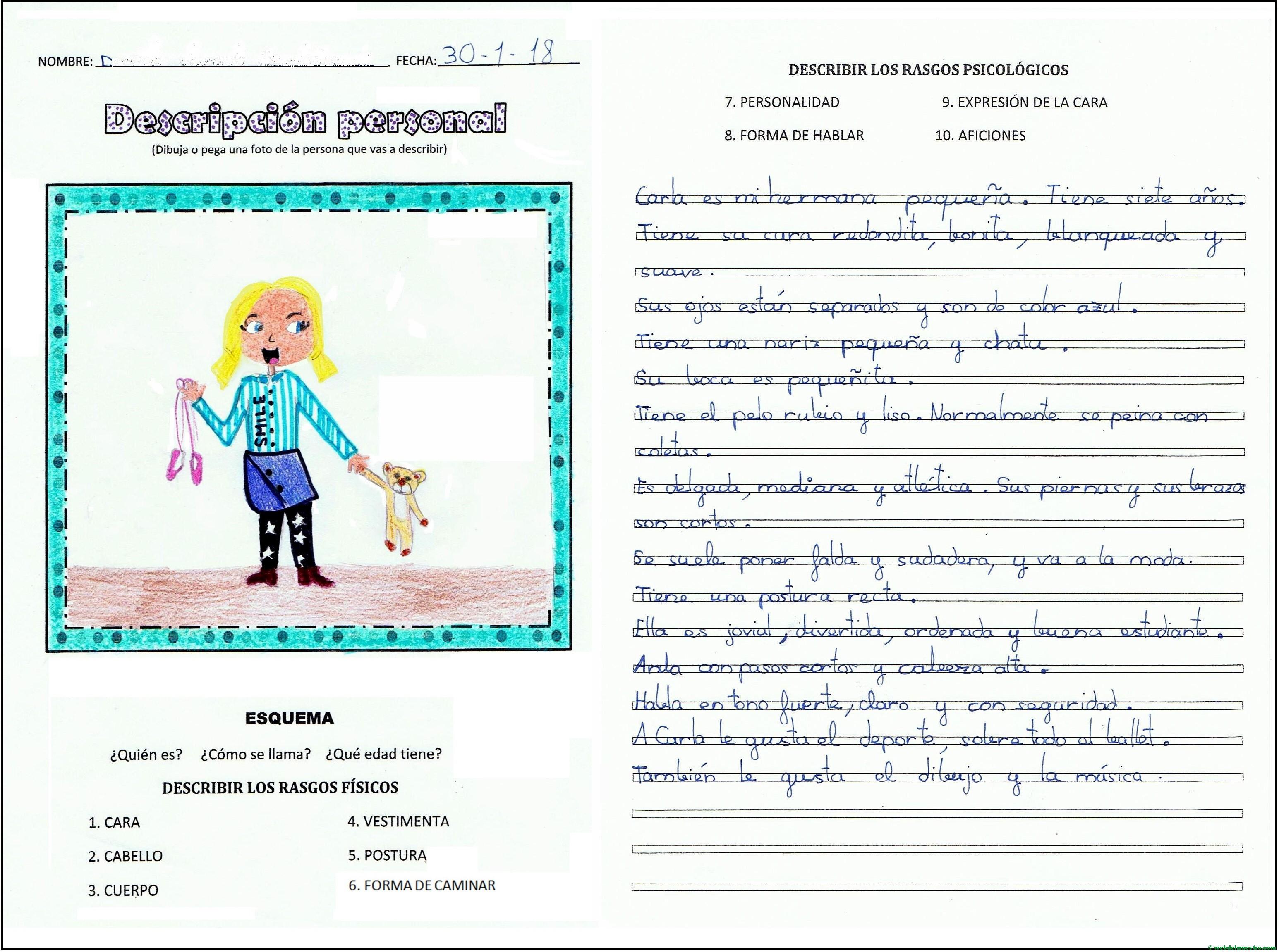 Descripcion De Una Persona Con Esquema Y Actividades Web