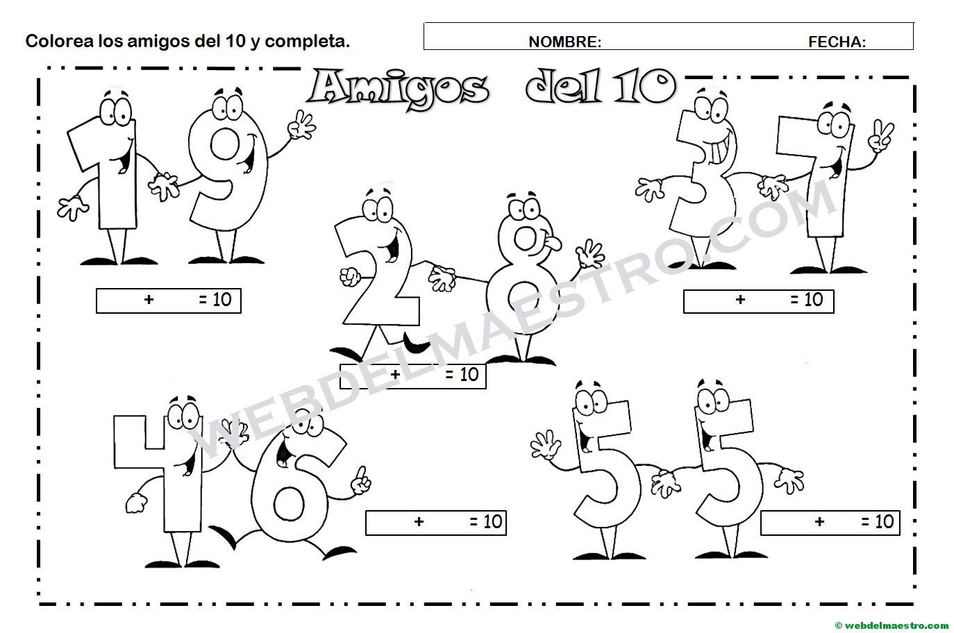 Los Amigos Del 10 Para Colorear Y Completar Web Del Maestro