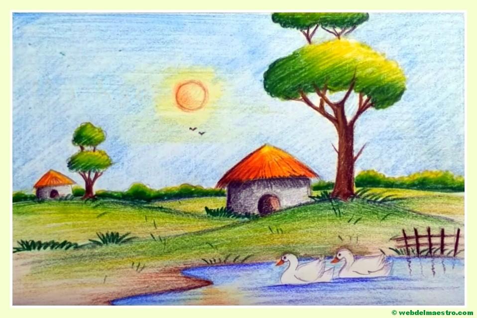 Dibujos Para Colorear De Un Paisaje: Paisajes Fáciles De Dibujar