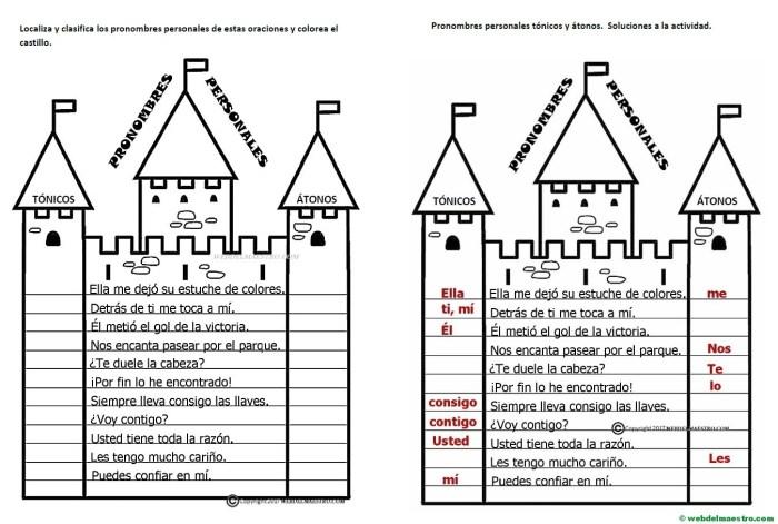 Pronombres personales tónicos y átonos-Actividades con soluciones