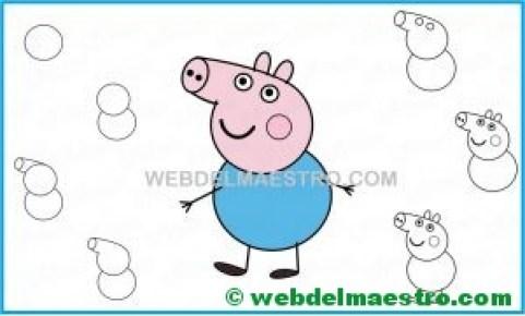 aprender a dibujar a George de Pepa Pig-