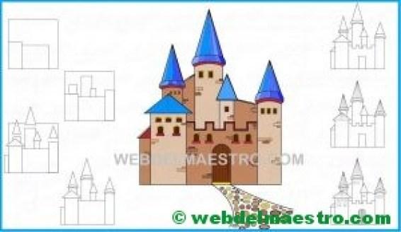 aprender a dibujar un castillo-