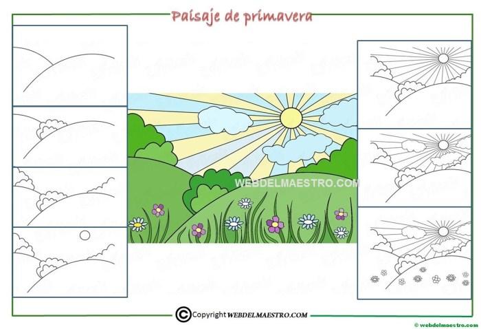 Como dibujar un paisaje de primavera para niños