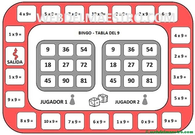 juego de la tabla del 9