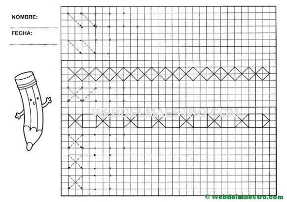 Grafomotricidad-Trazos en cuadricula-Ficha nº 11