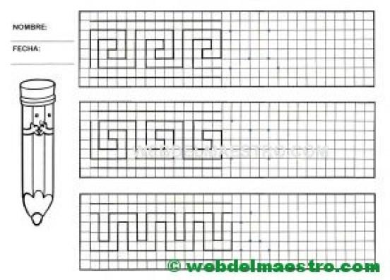 Grafomotricidad-Trazos en cuadricula-Ficha nº 13