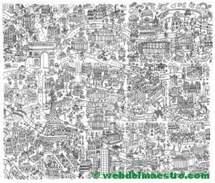 Poster gigante de Paris para colorear-Imagen de referencia