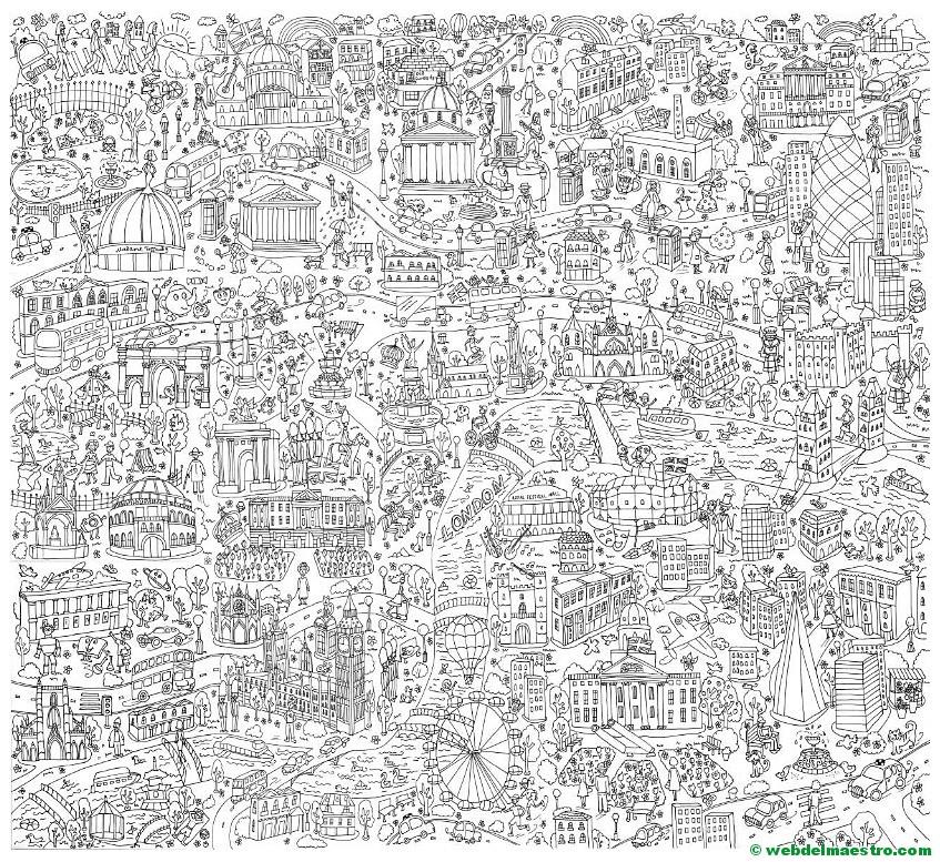 Póster gigante para colorear de Londres gratis - Web del maestro