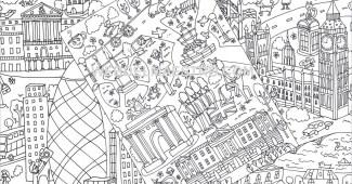 Póster gigante para colorear de Londres gratis