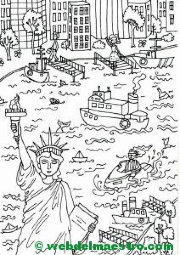 Póster gigante para colorear de Nueva York- Estatua de la Libertad