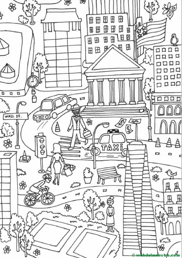 Póster gigante para colorear de Nueva York gratis - Web del maestro