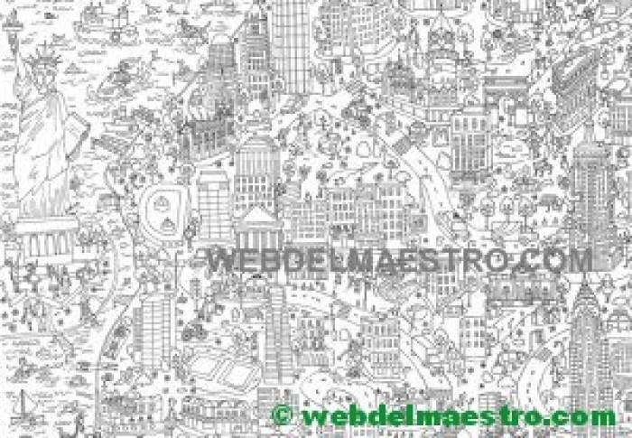 Póster gigante para colorear de Nueva York gratis
